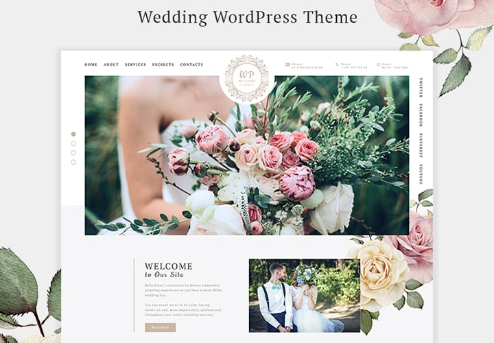 Belle Fleur - Tema WordPress Moderno para Casamento
