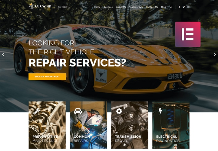 Fair Wind - Tema WordPress para Reparação de Automóveis