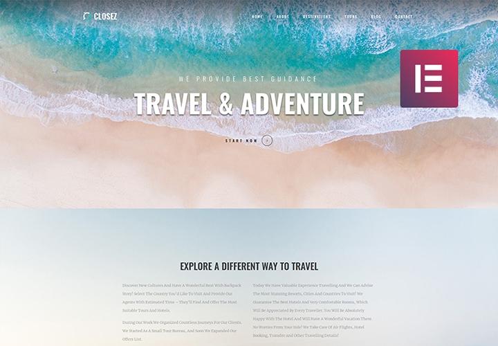 Closez - Tema WordPress One page para Turismo e Viagens