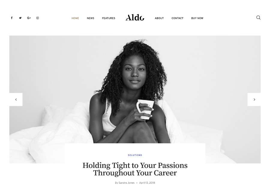 Aldo - Tema WordPress para Blogs Preto & Branco