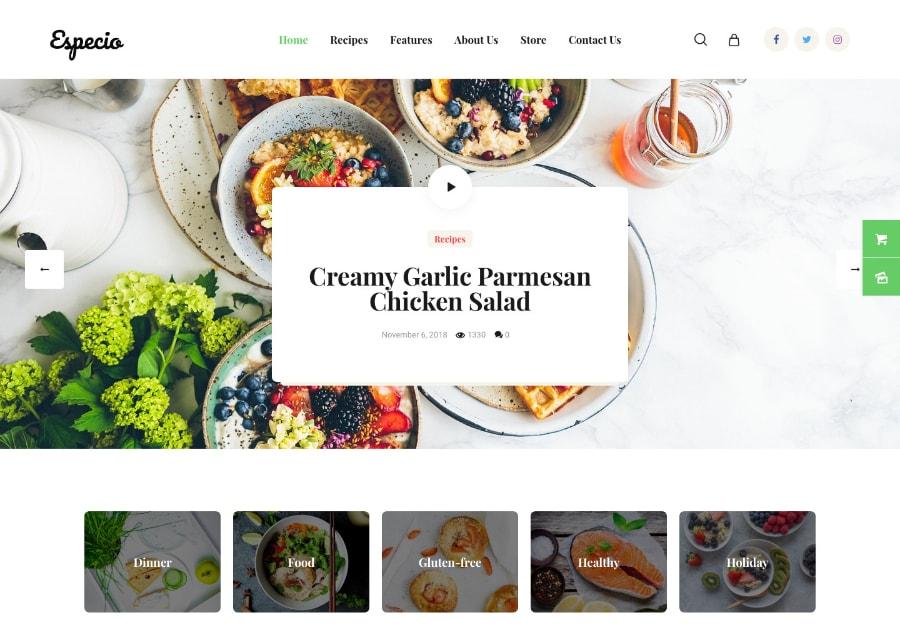 Especio | Tema WordPress para Alimentação Compatível com Gutenberg