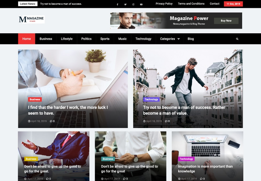 Magazine Power - Tema WordPress para Revistas Online e Jornal