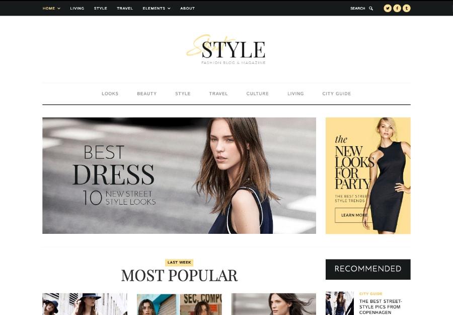 Street Style - Tema WordPress para Blogs de Estilo de Vida e Moda