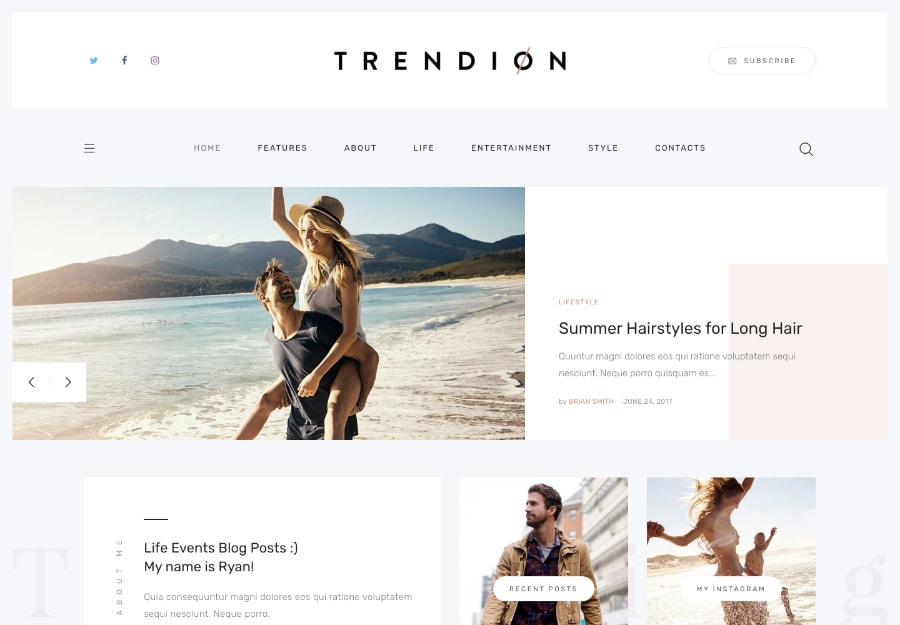 Trendion | Tema WordPress para Blogs e Magazines de Estilo de vida