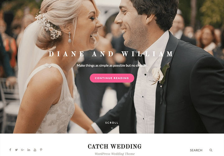 Catch Wedding - Tema WordPress para Casamento Simples