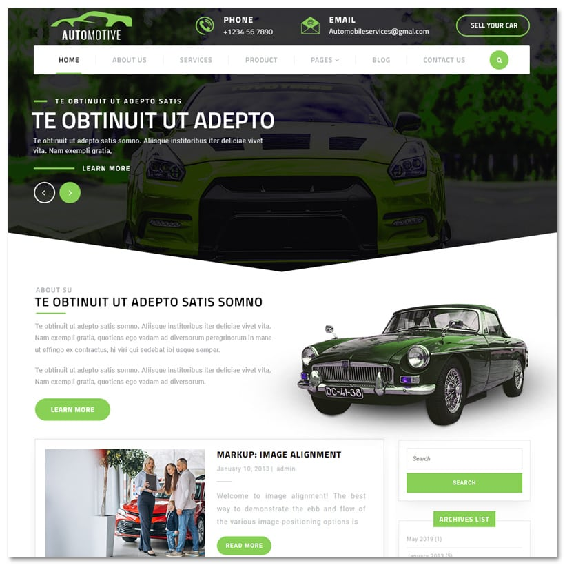 Automotive Centre - Tema WordPress para Indústria Automobilística