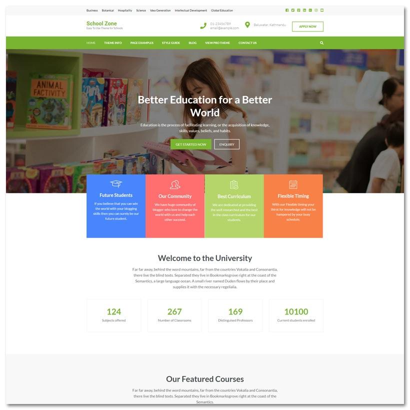School Zone - Tema WordPress para Escola e Educação