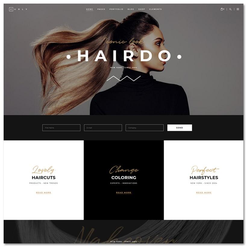 Curly - Tema WordPress para Cabeleireiros e Salão de Beleza