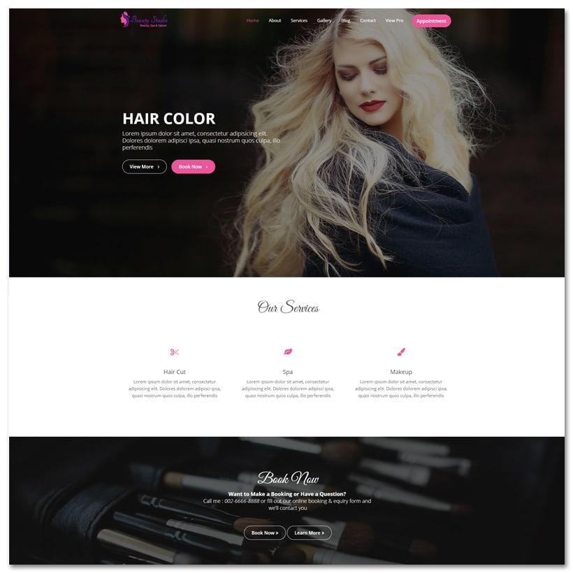 Beauty Studio - Tema WordPress para Salão de Beleza
