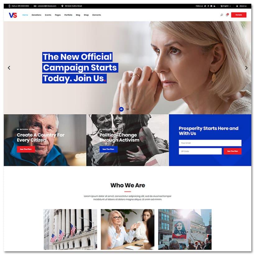 VoteStart - Tema WordPress para Políticos e Campanhas Políticas