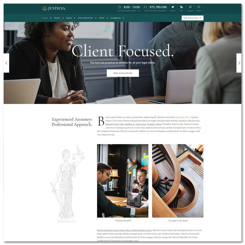 Justicia - Tema WordPress para Advogados e Escritórios de Advocacia
