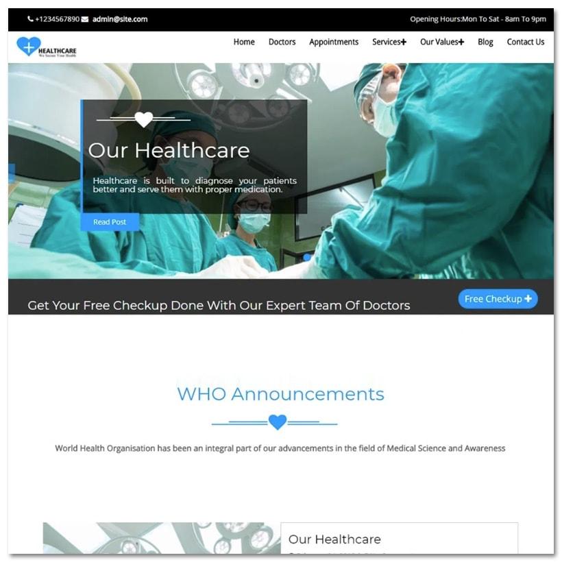 Healthcare - Tema WordPress para Negócios Médicos e Saúde