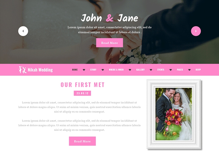 Nikah Wedding - Tema WordPress Limpo para Casamento