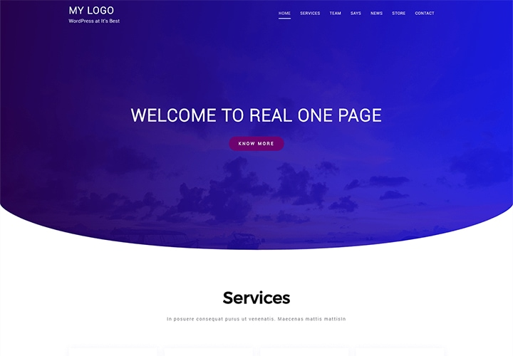 Real One Page - Tema WordPress One Page Simples