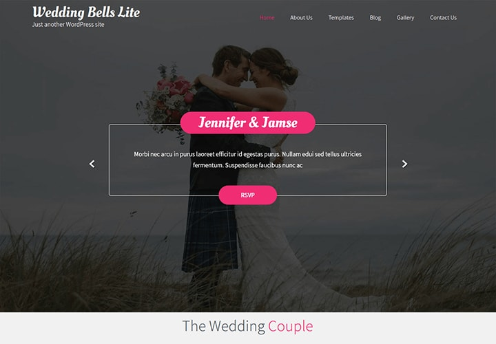Wedding Bells Lite - Tema WordPress para Casamento e Promotores de Eventos