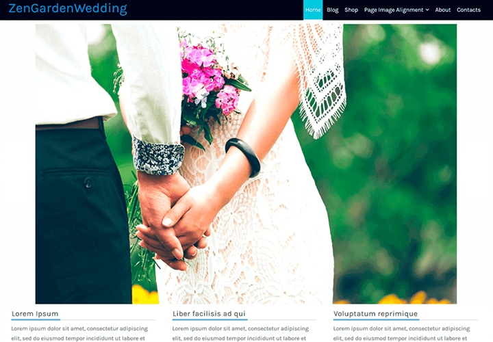 ZenGardenWedding - Tema WordPress para Casamentos