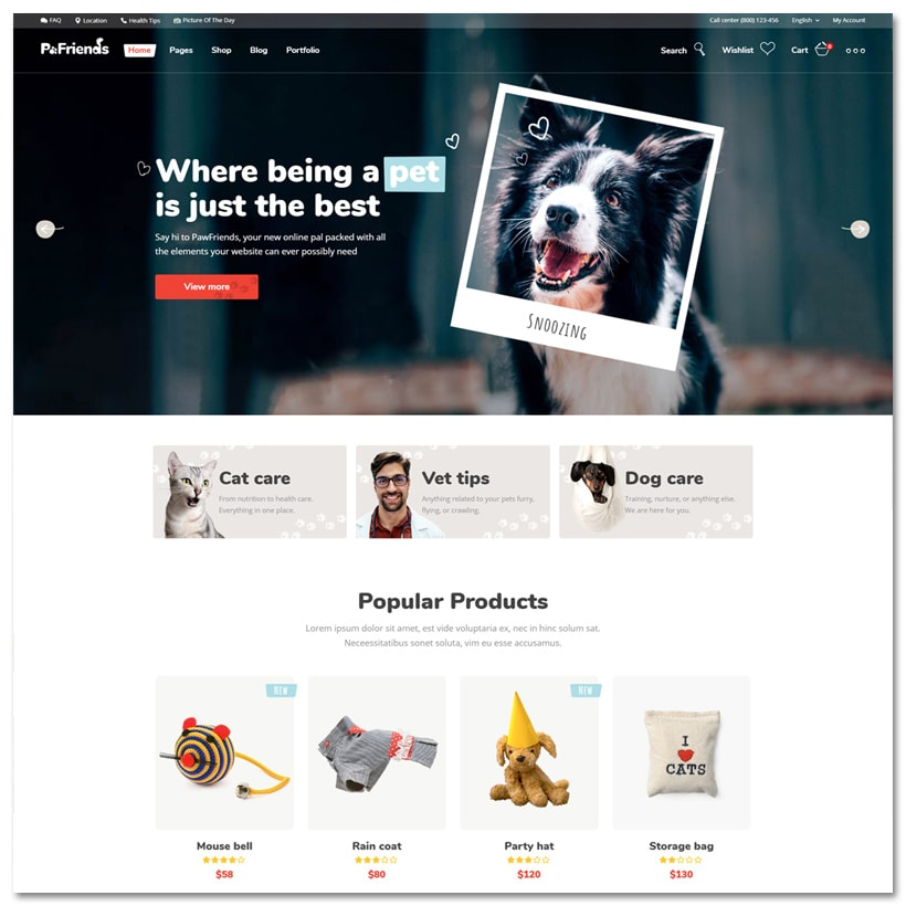 Pawfriends - Tema WordPress para Pet Shop e Veterinário