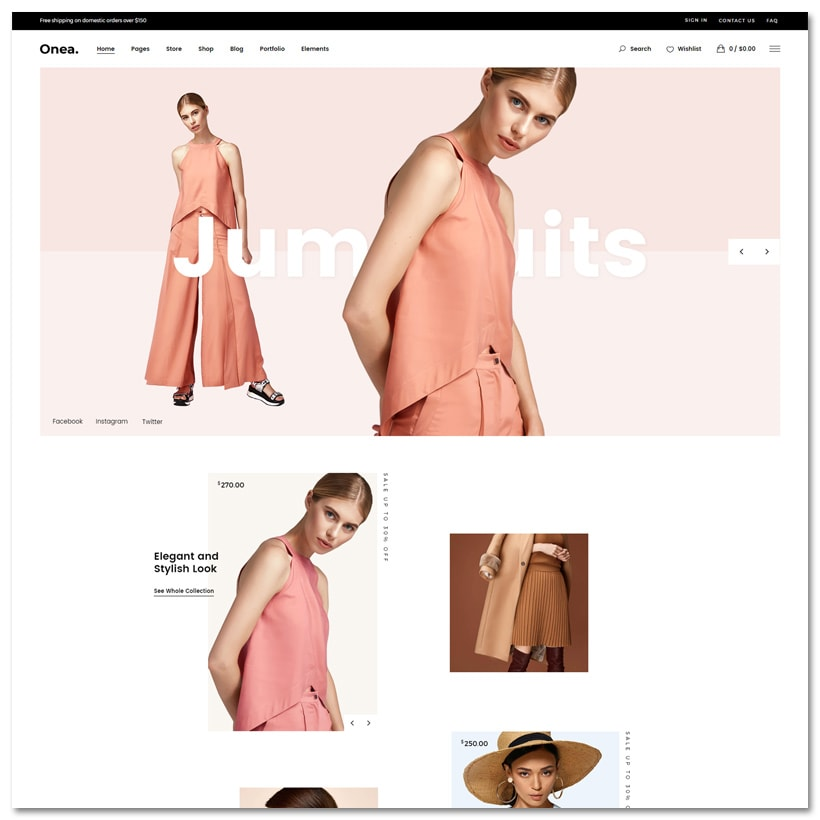 Onea - Tema WordPress para Loja de Moda Elegante