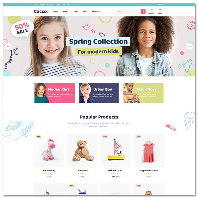 Cocco - Tema WordPress para Loja de Crianças e Bebê
