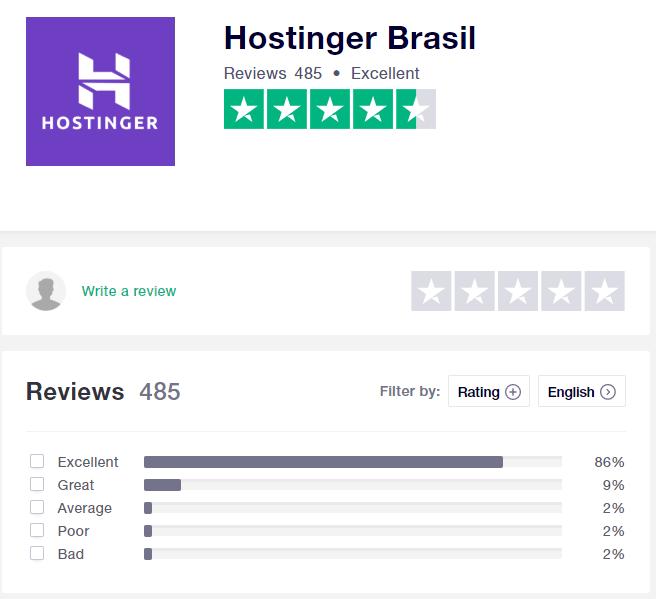 Hostinger Hospedagem WordPress - Avaliação TrustPilot Media Geral