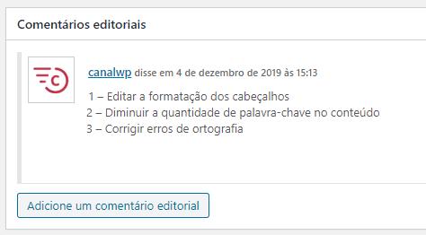 PublishPress - Aba Geral - Comentarios Editoriais Edicao de Posts